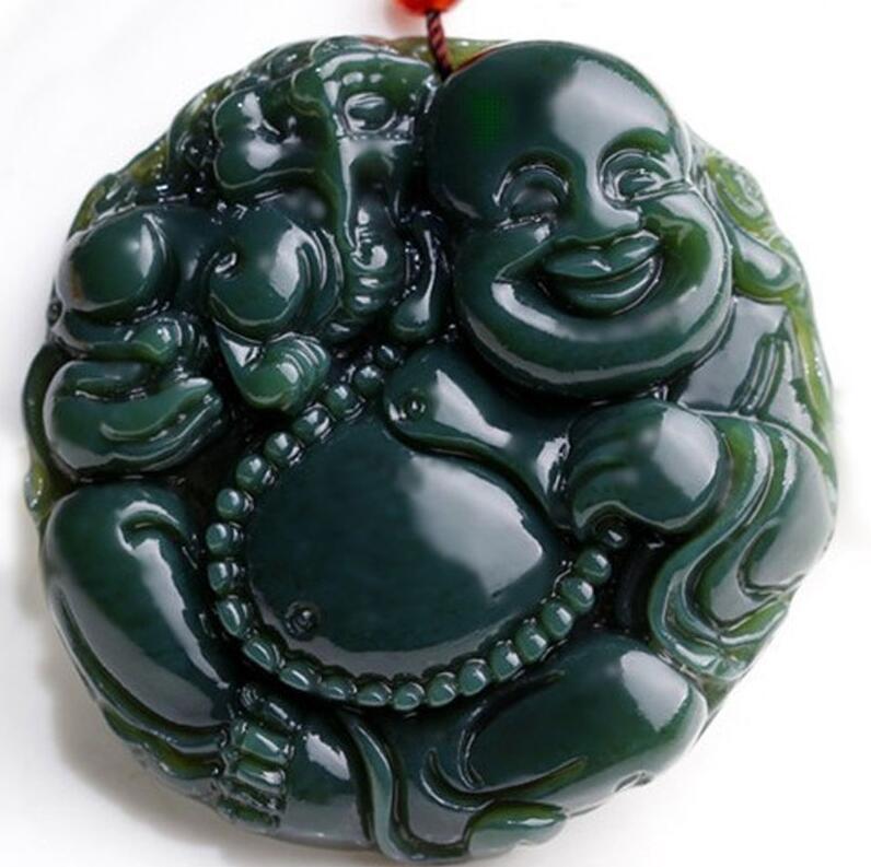 Lovers Natural hetian QINGYU Pot-bellied maitreya Laughing Buddha The future Buddha guardian pendant
