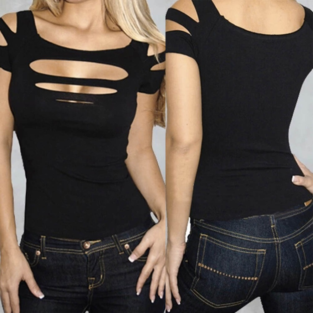 Plain black t shirt quality - High Quality Ladies Women Sexy Ripped Slashed Black Tight T Shirt Tops Clubwear Cut Out