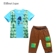 EABoutique 2017 New Cartoon Trolls clothes baby boy clothes cotton pajamas set trolls branch costume 2 piece set