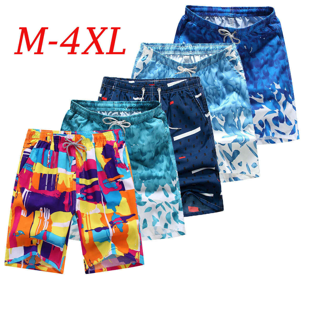 New Men's Swim Trunks Beach Shorts Surf Board Print Shorts Summer Sports Pants Breathable