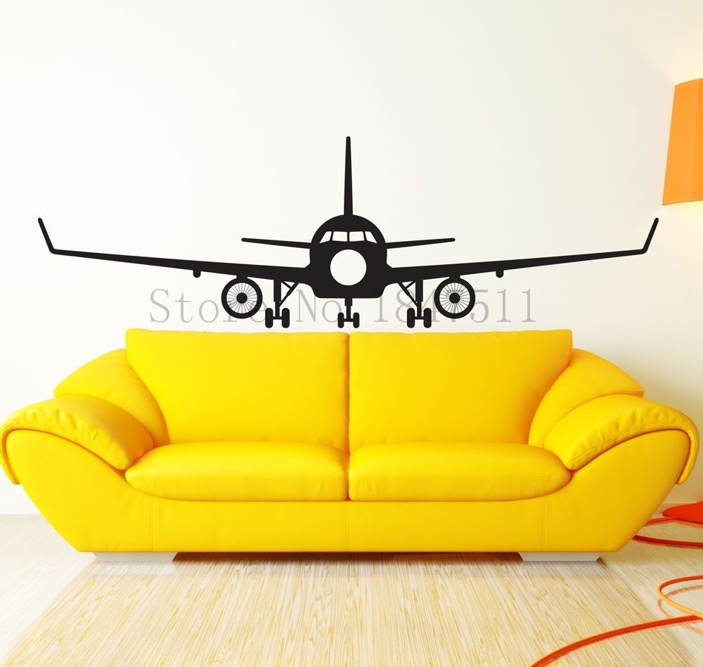E677 aviation big airplane wall stickers diy vinyl mural for Airplane cockpit wall mural