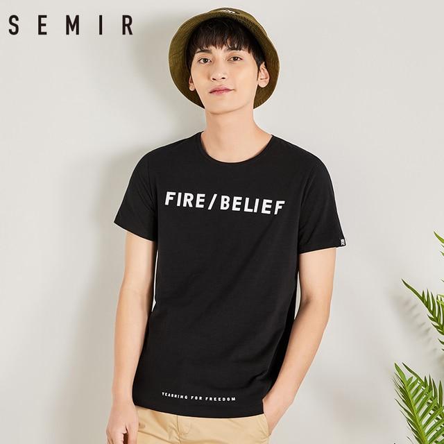 b17d7def80 SEMIR 100% cotton summer T shirt for men tops tees short sleeve printed  funny men Tshirt casual o-neck loose
