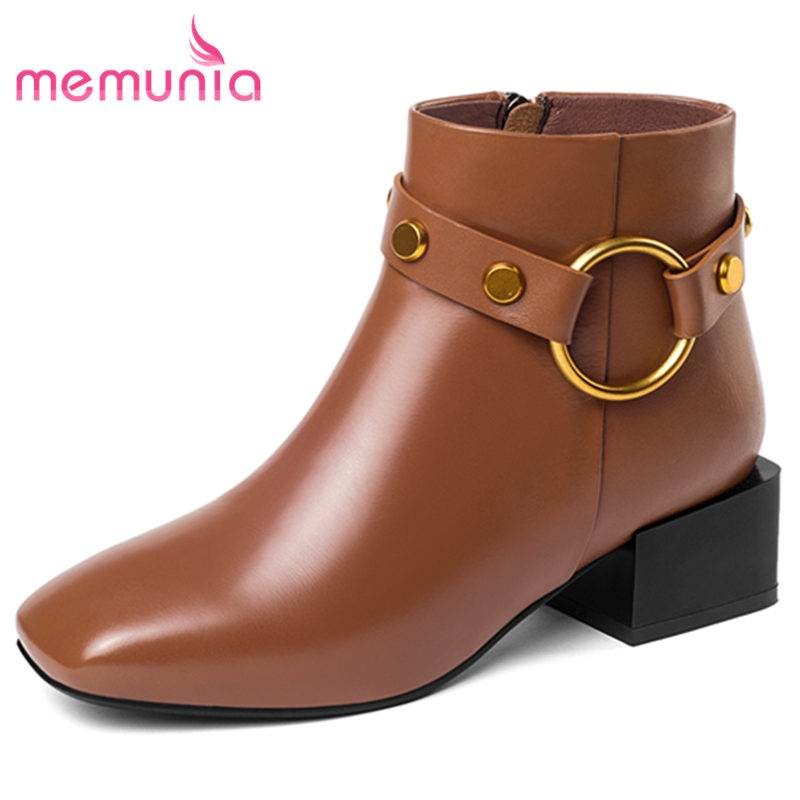 MEMUNIA SIZE 33-40 2018 HOT fashion thick med heels genuine leather boots buckle ankle boots for women zip autumn winter bootsMEMUNIA SIZE 33-40 2018 HOT fashion thick med heels genuine leather boots buckle ankle boots for women zip autumn winter boots