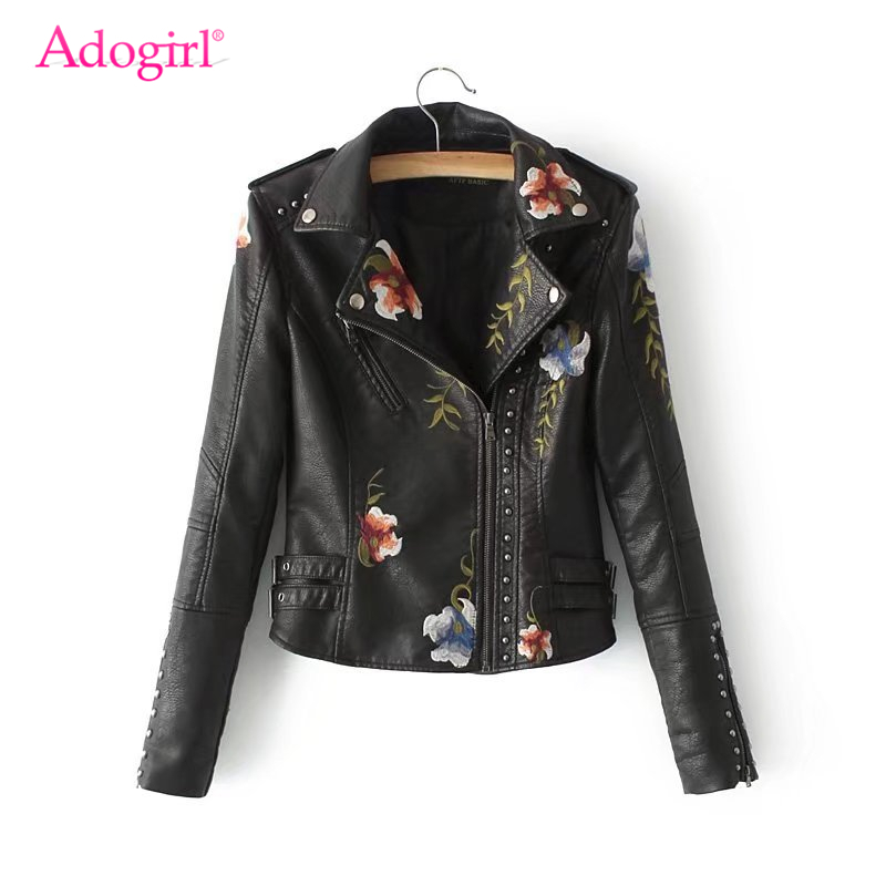 Adogirl Flower Embroidery Rivets PU   Leather   Jackets 2019 Autumn Winter Fashion New Faux   Leather   Motorcycle Coat Slim Outerwear