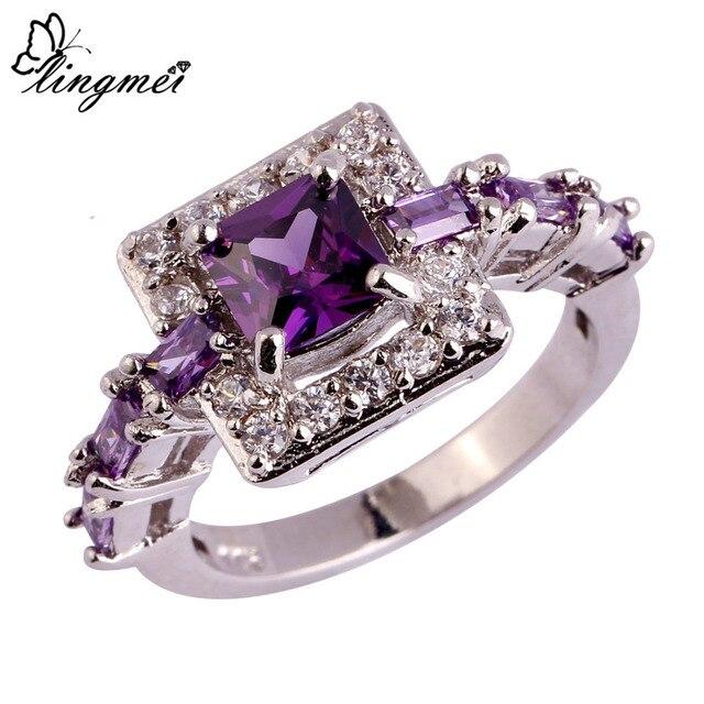 lingmei Wholesale Fashion Women Noble Princess Cut Purple White CZ Silver Color
