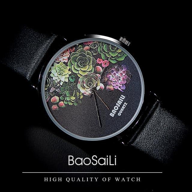 BSL1011 BAOSAILI Floral Design Black Case Japan PC21 Movt Water Resistant Life W