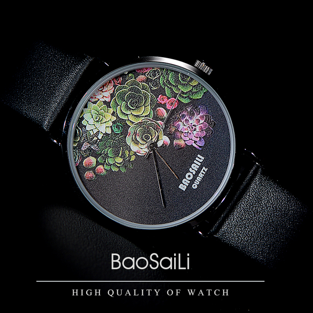 Floral Design Black Case Japan Movement Women's Watch