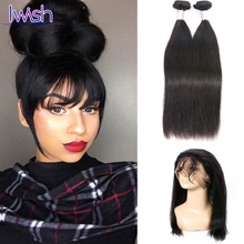 Peruvian Straight Virgin Hair With Closure 2 Bundles 7a Unprocessed Peruvian Human Hair 360 Lace Frontal With Bundle Straight