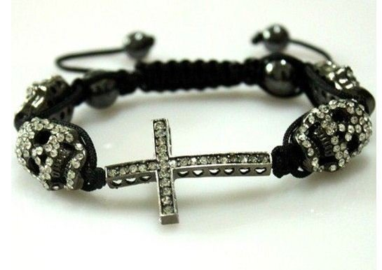 Cheap Handmade 4pic Skull Head Sideways Cross Shamballa bracelet , 12pcs/lot wholesale . Free Shipping CB0072