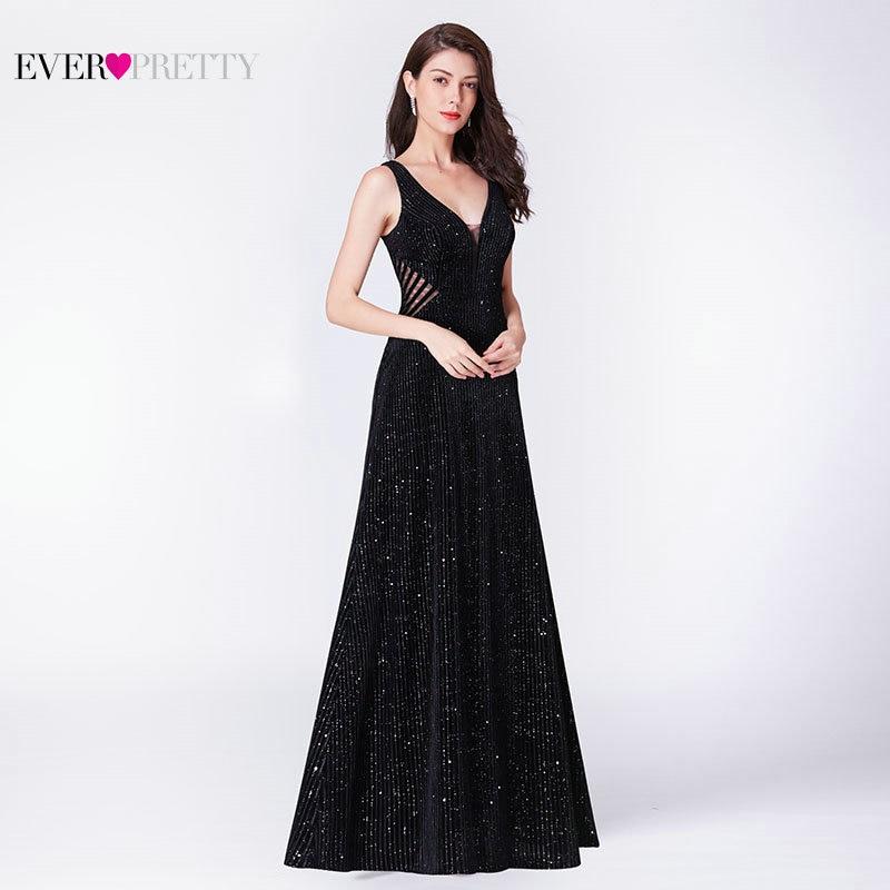 Robe De Soiree вечернее платье Русалочки 2019 Ever Pretty EP07439BK элегантное иллюзионное платье с v-образным вырезом и открытой спиной черные вечерние плат...