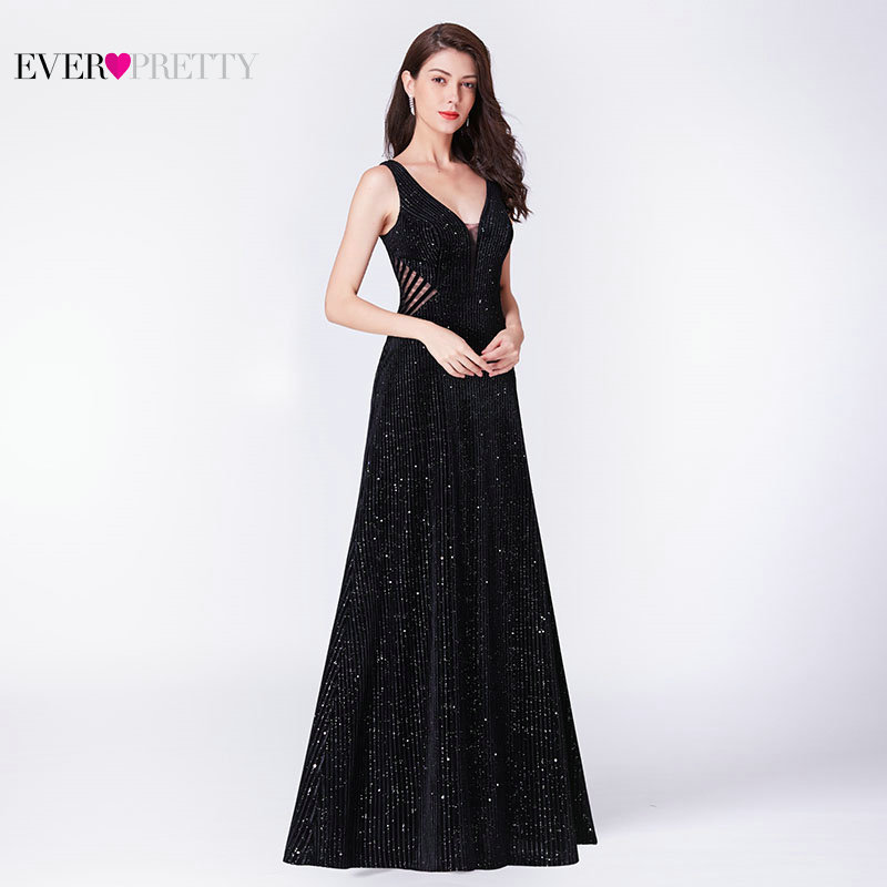 Robe De Soiree Little Mermaid Evening Dress 2019 Ever Pretty EP07439BK Elegant Illusion V Neck Backless Black Formal Party Gowns