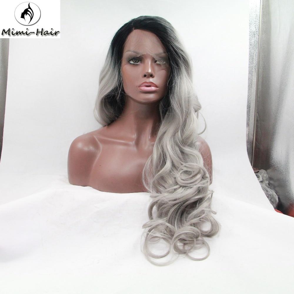 Legendwig 2 Tones Synthetic Lace Front Wig Gray Grey