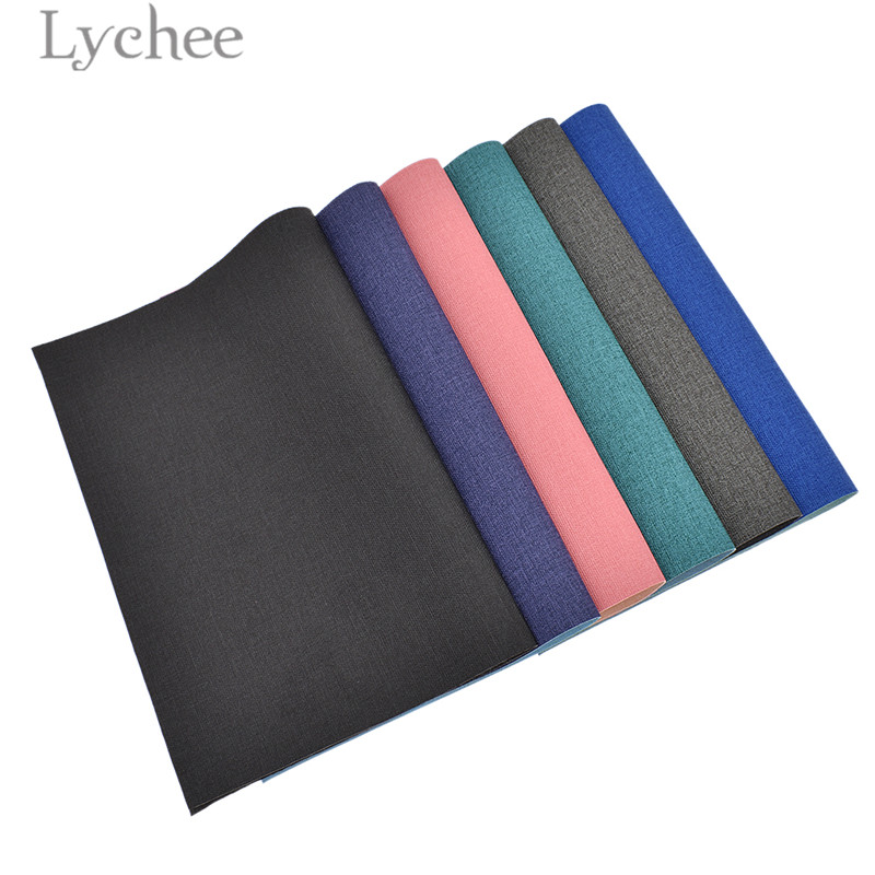 Lychee Life 29x21cm A4 Demin PU tela de cuero de alta calidad cuero sintético Material DIY para bolsos de mano prendas Tela de cuero sintético 22cm * 30cm telas de PU para hacer ropa hecha a mano DIY costura Matirials telas de PU tela de 3 colores