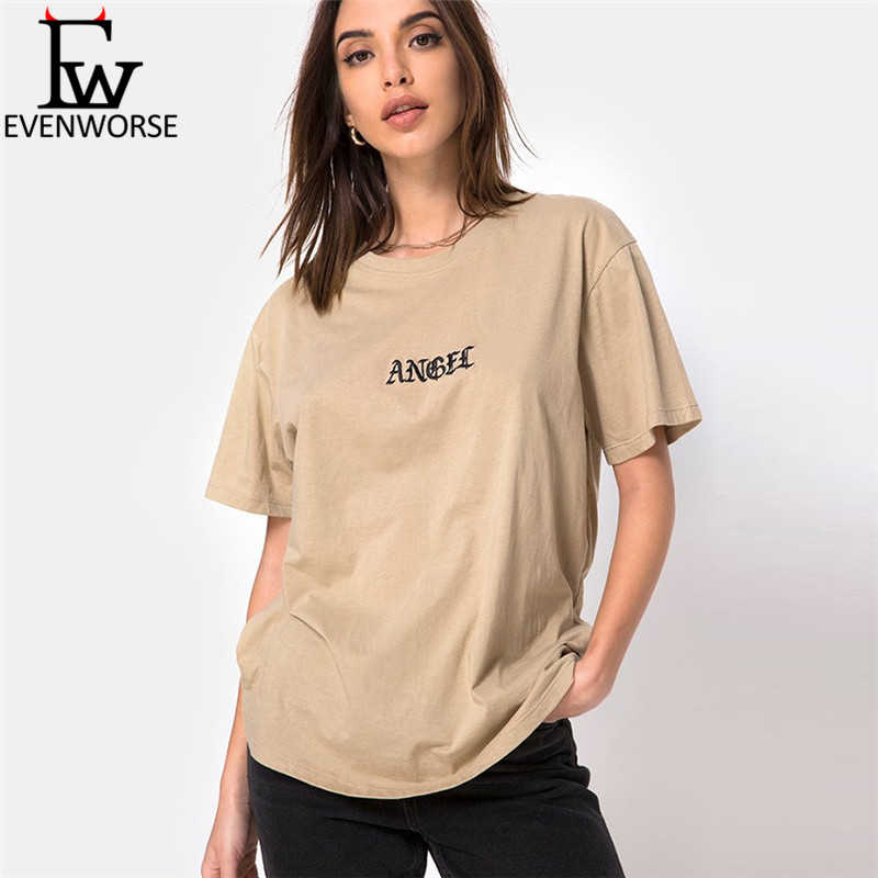 Evenworse Angel letter print O-neck Short Sleeves solid color t shirt 2019 summer women new fashion casual loose elastic Tees