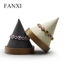 FANXI  New Solid Wood Bangle Bracelet Display Stand with Round Bottom Microfiber Jewelry Holder Organizer for Showcase