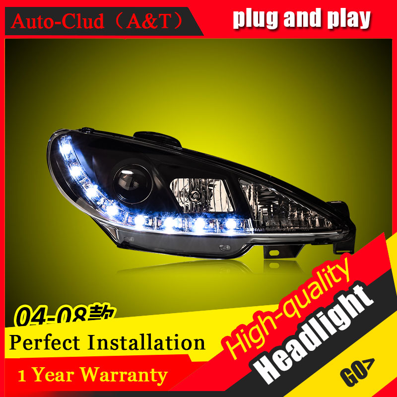 Auto Clud Car Styling For Peugeot <font><b>206</b></font> <font><b>headlights</b></font> 2005-2008 For <font><b>206</b></font> head lamp led DRL front Bi-Xenon Lens Double Beam HID KIT image