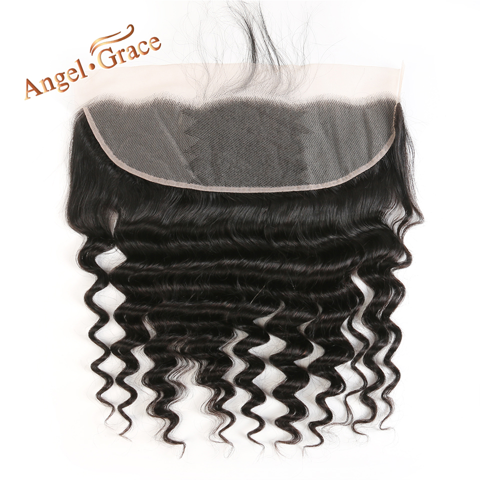 ANGEL GRACE HAIR Loose Wave 13 x4 Lace Frontal Free Middle Part Brazilian Remy Hair Human