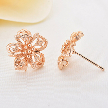 (31867)6PCS Flower 13.5MM 24K Champagne Gold Color Plated Brass Flower Stud Earrings Diy Jewelry Findings Accessories wholesale