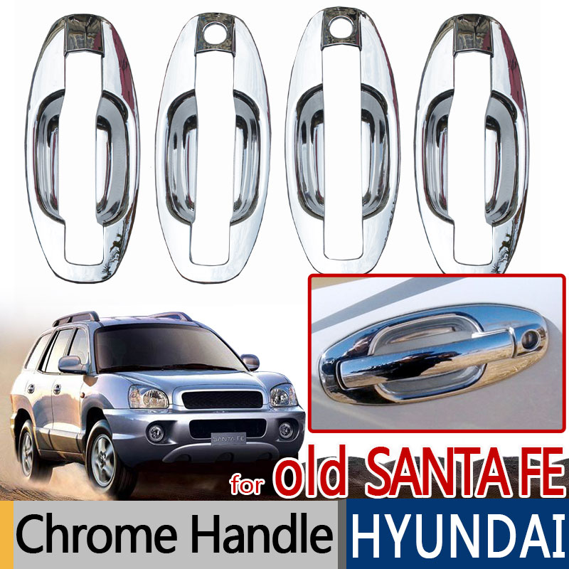 For Hyundai Santa Fe 2001-2006 Accessories Chrome Trim Exterior Door Handle Covers Classic 2002 2003 2004 Car Styling Stickers for renault captur luxurious chrome door handle covers accessories stickers car styling 2013 2014 2015 2016