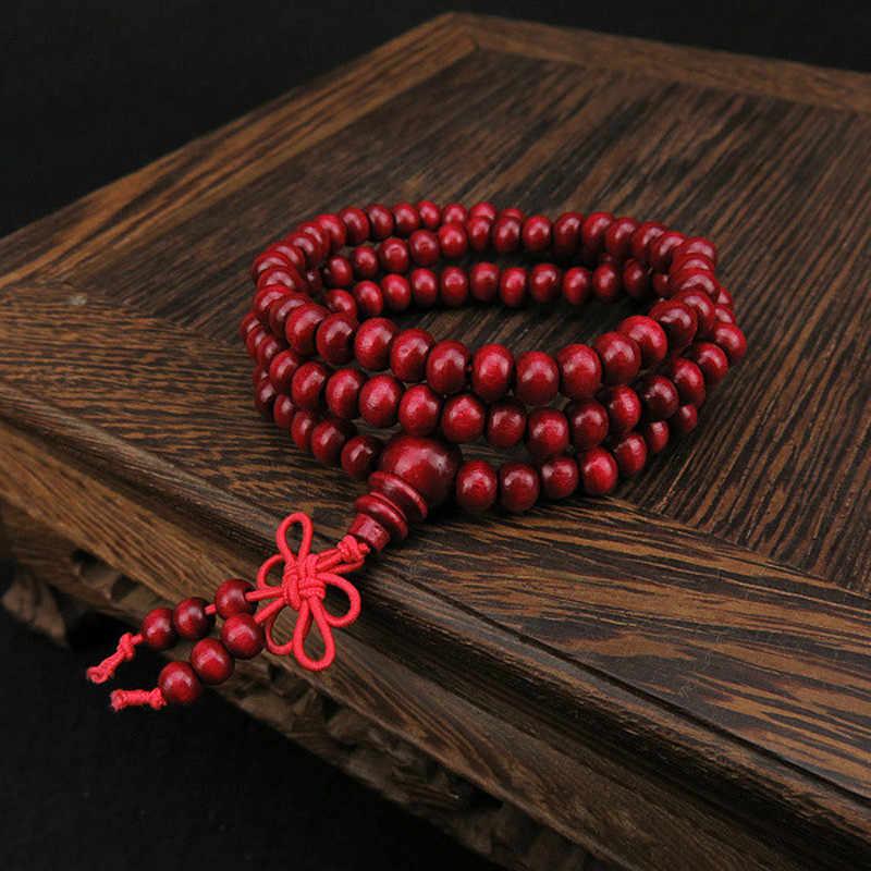 Буддийские Бусы из сандалового дерева Будда медитация 108 молитвенный шарик Мала браслет ожерелье сандаловое дерево молитвенные Бусы Будда буддийская Медитация