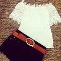 Mulheres da moda Rendas de Croché Verão Fora Do Ombro Chiffon Camisa Casual Tops Blusa