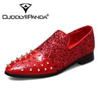 CUDDLYIIPANDA Luxury Men Glitter Pointed Sequins Studded Rivet Spike Casual Shoes Flats Male Homecoming Dress Wedding Prom Shoes
