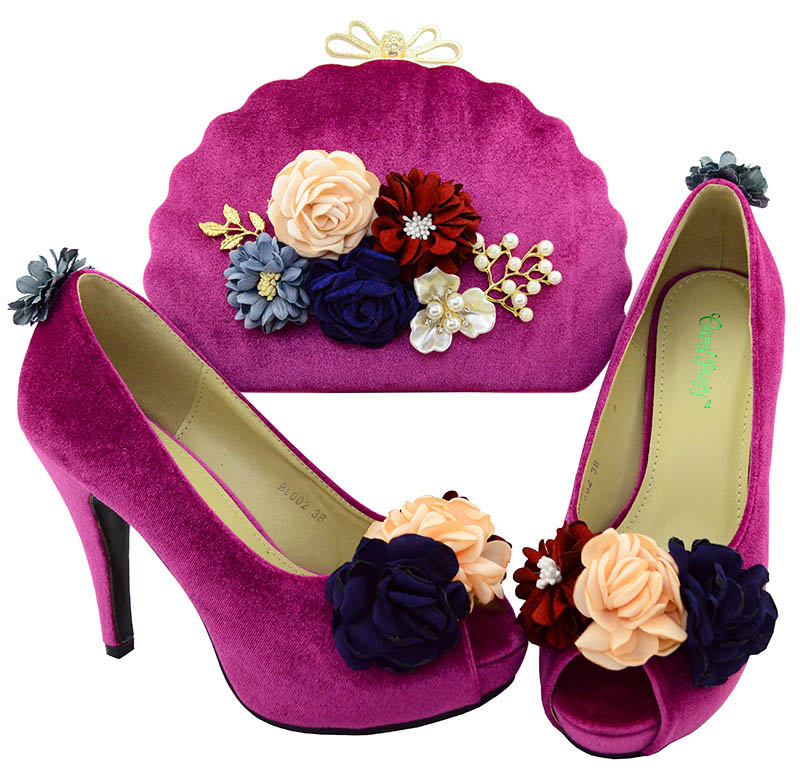 New 3D applique Magenta Color Shoe and Bag Set for Party In Women African Matching Shoes and Bag Italian Party Shoes and Bag Set flower applique mesh cami top and panty pajama set