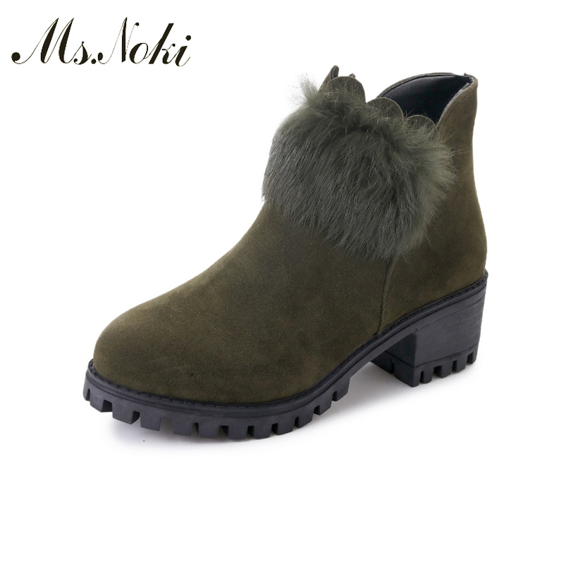 Ms Noki HOT SALE Shoes Flock Women Fur Boots Handmade Ankle Boots Boots Real Square heel Shoes Women Shoes ms noki fur new fashion style black ankle boots flats pointed toe back slip on boots pu flock woman shoes with warm fur outside