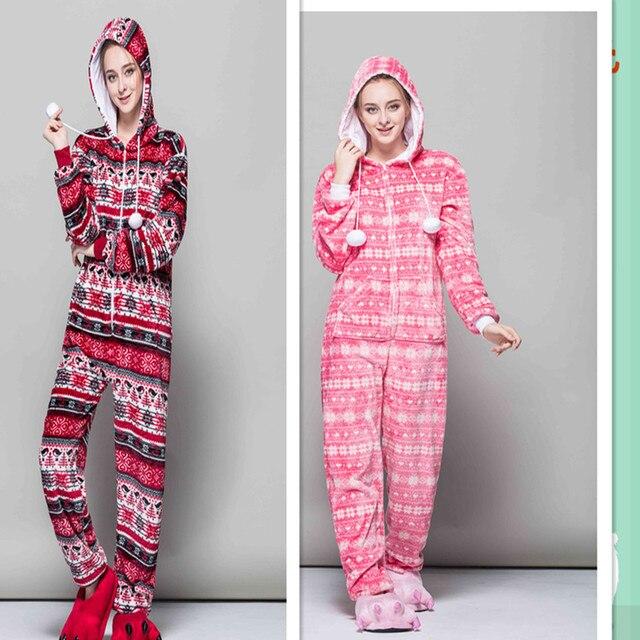 2017 Fashion Autumn and Winter Red Bird Onesies Snowflake Pajama Set  Cartoon Pyjama Women Flannel Adult Hooded Animal Sleepwear bb09f2256