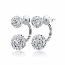 Earrings 2016 new double-sided media Disco Crystal Ball Shamballa Stud for women bottom is stainless steel top quality E300-E309