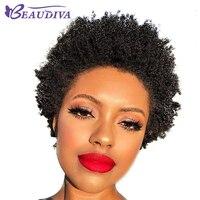 BEAUDIVA Hair Brazilian Remy Hair Afro Kinky Curly Weave Bundle Short Machine Made Human Hair Wigs For American Black Women