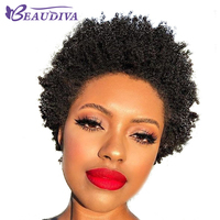 Fast Shipping Peruvian Remy Hair Afro Kinky Curly Weave Bundle Short Machine Made Human Hair Wigs For American Black Women