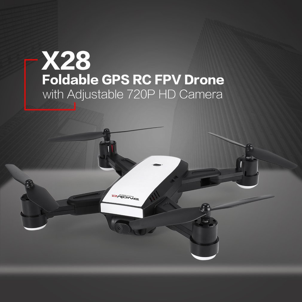 Mini Drone de contrôle de Distance GPS FPV 4 axes de LH-X28GWF avec caméra HD 720 P 1080 P lumière LED Batteries de retour à une clé