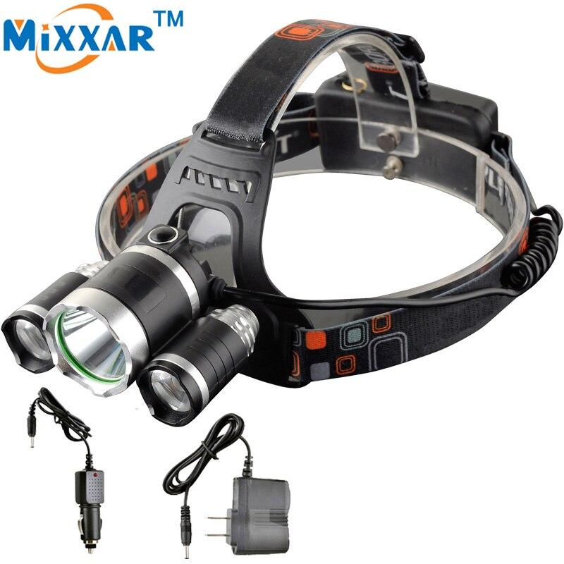 EZK10 13000LM LED Lighting Head TorchLamp 3x XML T6+2R5 4 modes Headlight Hunting Camping Fishing Light Hunting LED headlamp