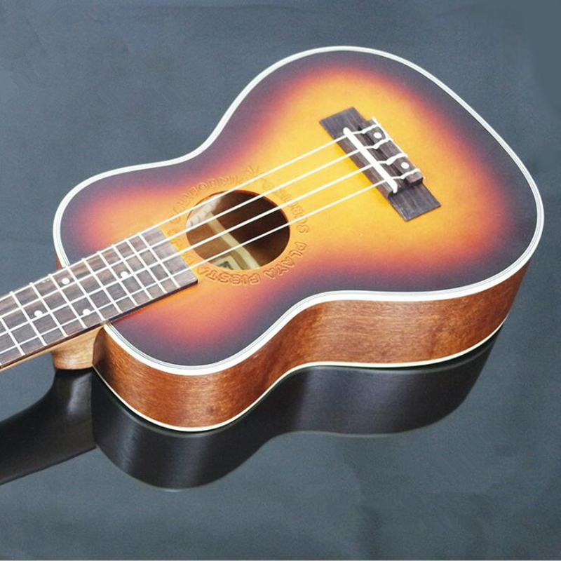 23 pouces palissandre touche ukulélé quatre cordes Aquila 17 Fret hawaïen ukelele acoustique guitare électrique coucher de soleil couleur pick-up