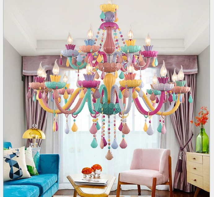 Free Shipping Colorful Crystal Chandelier Lights Lustre