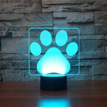 Dog Paw Footprint 3D Table Lamp