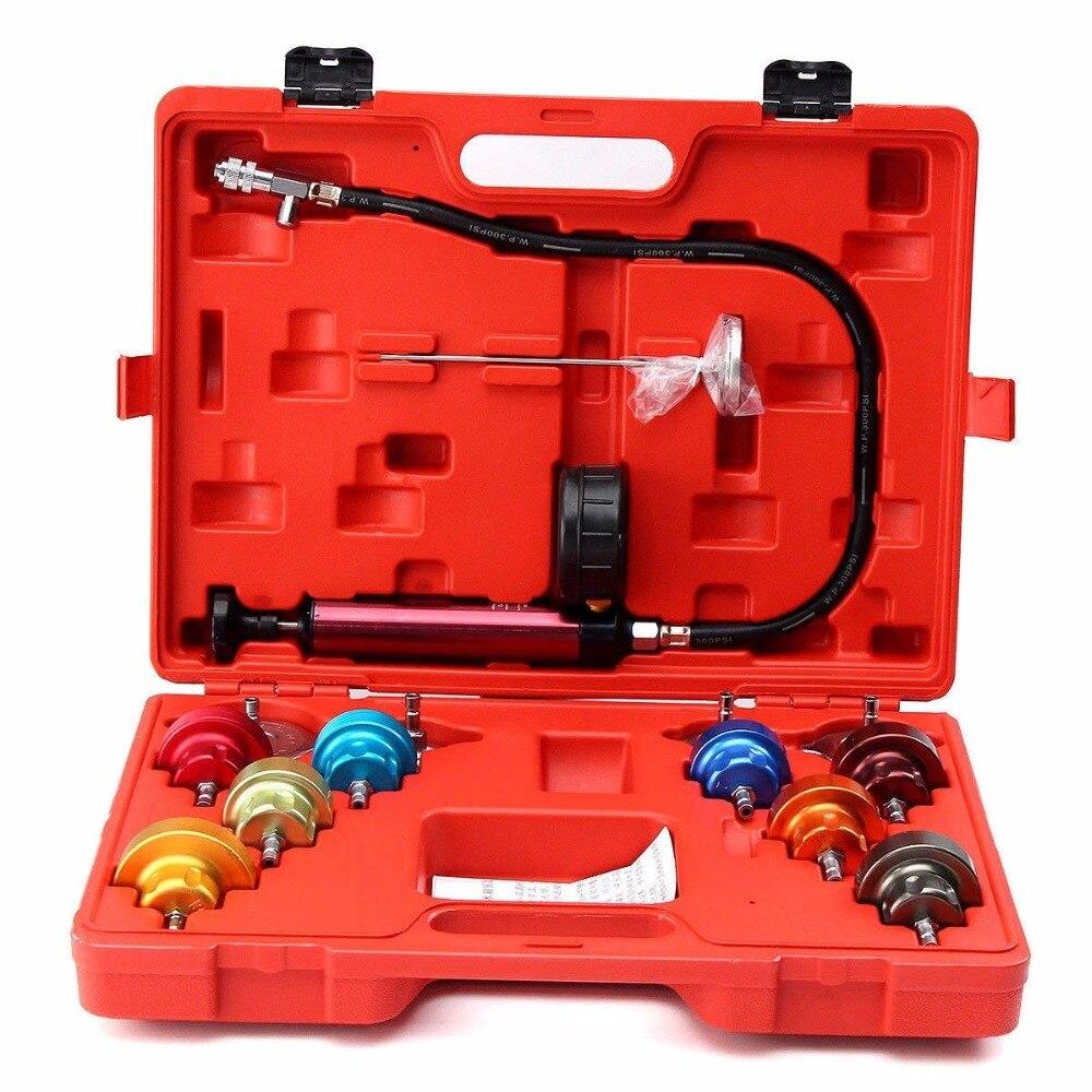 14pcs Universal Radiator Pressure Tester Tool Kit Cooling System Testing Tool Water Tank Leakage Detector