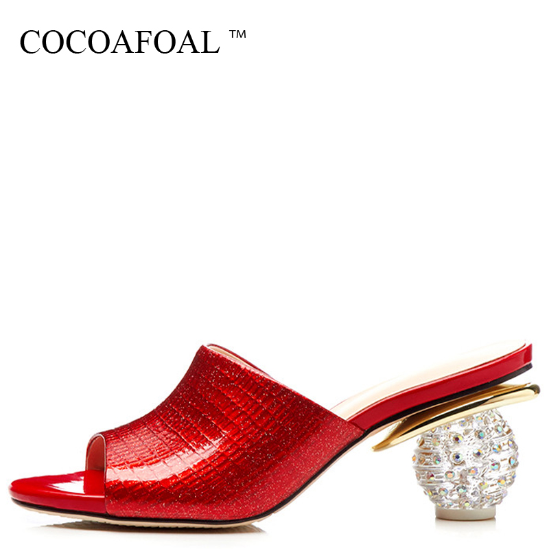 COCOAFOAL Womens Red Wedding Slides New Summer Genuine Leather High Heels Green Shoes Sandbeach Open Toe Crystal Slides 42