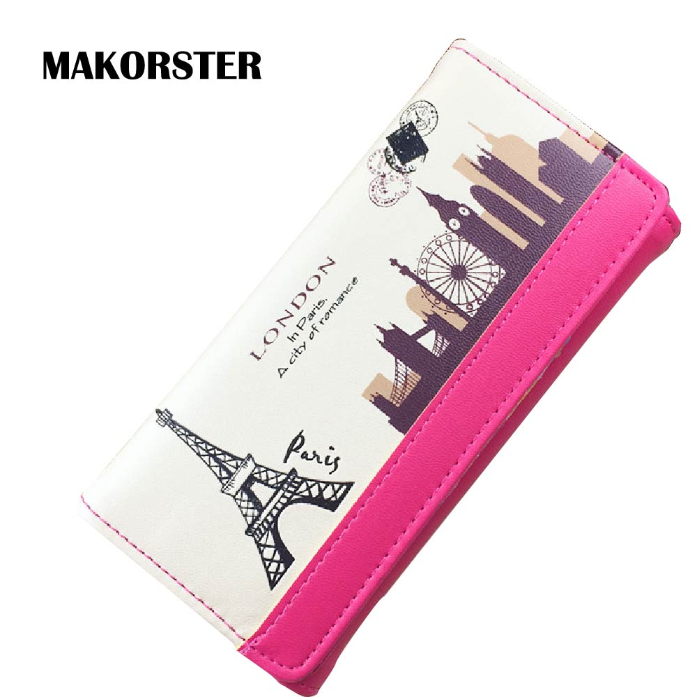 MAKORSTER long Fashion Wallet for Ladies PU Leather Eiffel Tower Wallets and purses female coin holders wristlet feminina MK247 2017 new ladies purses in europe and america long wallet female cards holders cartoon cat pu wallet coin purses girl