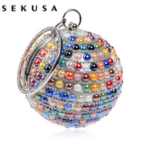 New Arrival Ceramics Mixed Color Women Handbags With Handle Metal Diamonds Evening Bags Beaded Round Design