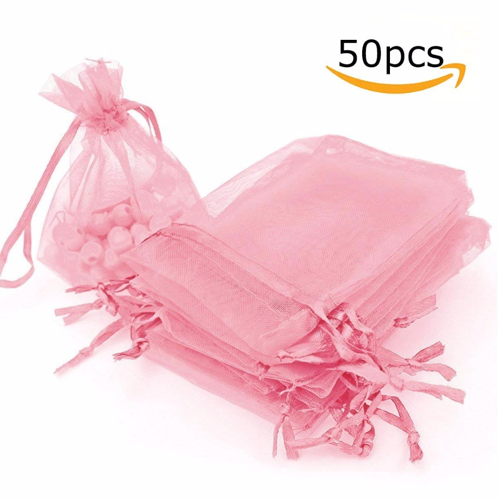 50 Pack Organza Gift Bags Wedding Party Favor Bags Jewelry Pouches