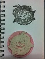 Custom Conan Rubber Stamp Logo 1pcs Inkpad Card Wedding Carimbo Personalizado Card Decoration Shop Chapter Customized