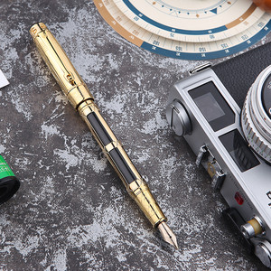 Image 5 - יוקרה 10K זהב מזרקת עט מלא מתכת זהב קליפ יוקרה כתיבת עטי Caneta מכתבים ציוד לבית ספר משרד 1015