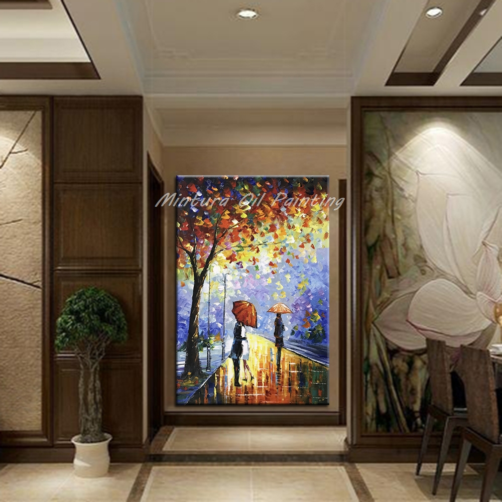 Image 3 - Mintura Large Hand painted Abstract Modern Wall Painting Rain 