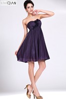 Designer empire Sweetheart Purple Chiffon Dress for Bridesmaids Knee Length Wedding Party Dress