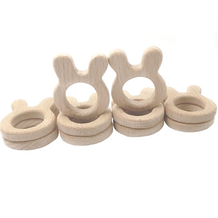 Beech Wooden Rabbit Natural Handmade Wooden Teether DIY Wood Personalized Pendent Eco-Friendly Safe Baby Teether Toys