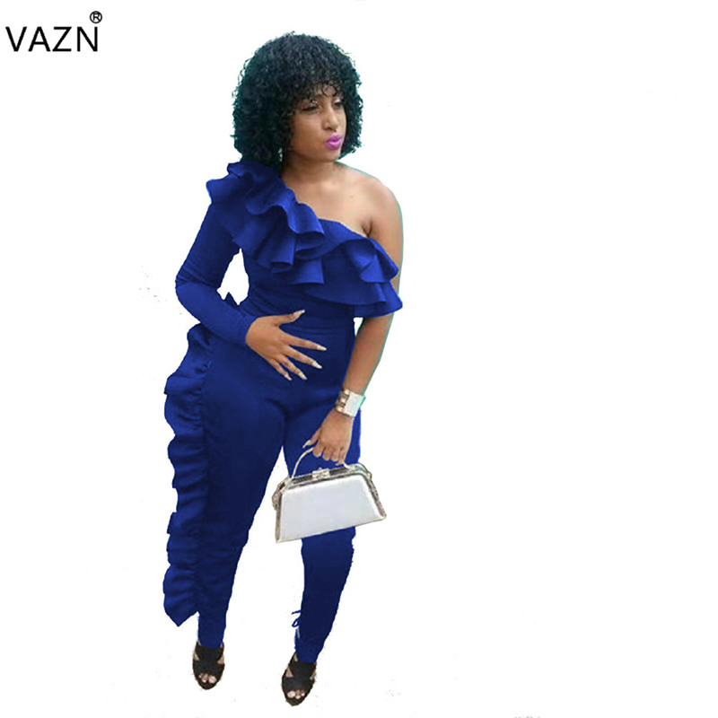 VAZN 2019 Best Quality Women Sexy Solid 3-Colors Bodycon Long   Jumpsuits   Lady One Shoulder Full Sleeve Ruffles   Jumpsuits   MER154