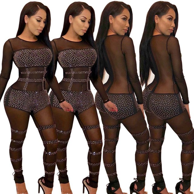 941a914abd4 2018 Sexy black Sheer Jumpsuit transparent mesh Romper Women Long Sleeve  See Through Sequined Nightclub Party