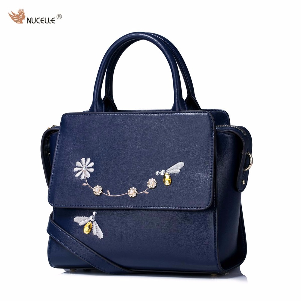 ФОТО 2017 New NUCELLE Brand Design Floral Embroidery Rhinestones High Quality Soft PU Leather Women Lady Handbag Shoulder Wings Bag